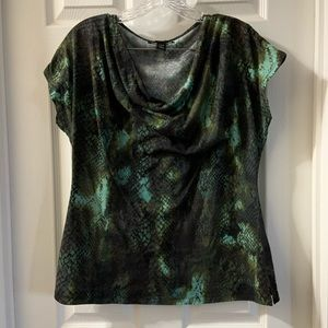 Kenneth Cole NY Green Snake Print Cowl Neck Top L